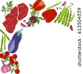 banner of raw food for cooking. ... | Shutterstock . vector #613504559