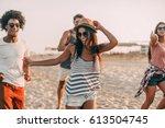 enjoying nice summer day. group ... | Shutterstock . vector #613504745