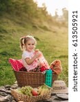 beautiful little girl on a... | Shutterstock . vector #613505921