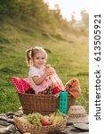 beautiful little girl on a... | Shutterstock . vector #613505921