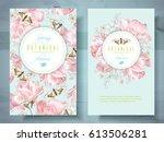 vector spring flower banners... | Shutterstock .eps vector #613506281