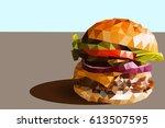 delicious fresh homemade burger ... | Shutterstock .eps vector #613507595