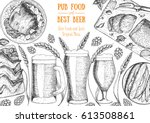 pub food frame vector... | Shutterstock .eps vector #613508861