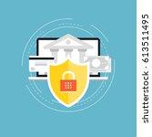 secure money transactions flat...   Shutterstock .eps vector #613511495