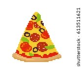 pizza pixel art. piece of pizza ... | Shutterstock .eps vector #613511621