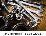 tools and old auto parts on... | Shutterstock . vector #613512011