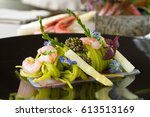 watercress tagliolini  on a bed ... | Shutterstock . vector #613513169
