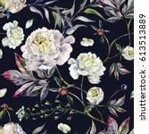 watercolor elegant seamless... | Shutterstock . vector #613513889