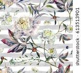 watercolor elegant seamless... | Shutterstock . vector #613513901