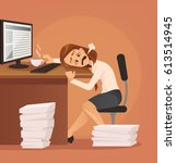 hard work. tired unhappy office ... | Shutterstock .eps vector #613514945