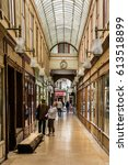 Small photo of PARIS, FRANCE - JUNE 2, 2015: Interior of Passage Bourg-L'Abbe - Parisian walkway located in the second district. Passage built in 1828 by Auguste Lusson.
