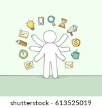 cartoon businessman with many... | Shutterstock .eps vector #613525019