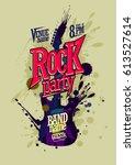 rock party poster vector design ... | Shutterstock .eps vector #613527614