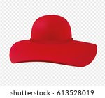 woman hat with a wide brim. red ... | Shutterstock .eps vector #613528019