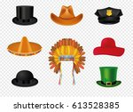 hat set with black cylinder hat ...   Shutterstock .eps vector #613528385