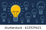 one light bulb is glowing  new... | Shutterstock .eps vector #613529621