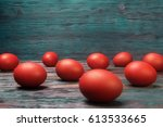 Red Easter Eggs Over Rustic...