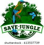vector jungle emblem with... | Shutterstock .eps vector #613537739