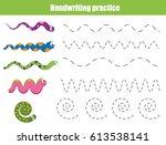 handwriting practice sheet.... | Shutterstock .eps vector #613538141