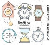 set of doodle sketch watches.... | Shutterstock .eps vector #613538855