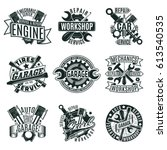 monochrome car repair service... | Shutterstock .eps vector #613540535
