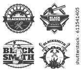monochrome vintage blacksmith... | Shutterstock .eps vector #613541405