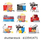 colorful cinema elements set... | Shutterstock .eps vector #613541471