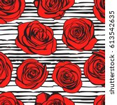 abstract roses seamless pattern....   Shutterstock .eps vector #613542635