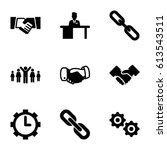 cooperation icons set. set of 9 ... | Shutterstock .eps vector #613543511