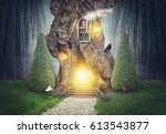 Fairy Tree House In Dark Spook...