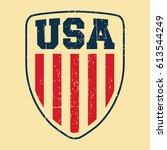 t shirt print design. usa... | Shutterstock .eps vector #613544249