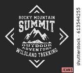 t shirt print design. mountains ... | Shutterstock .eps vector #613544255