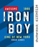 new york iron boy urban heroes... | Shutterstock .eps vector #613545134