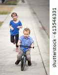 young brother and sister... | Shutterstock . vector #613546331