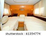 Interior shot of bedroom in recreation vehicle - stock photo