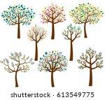 vector set of cartoon trees... | Shutterstock .eps vector #613549775