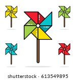 set of colorful toy pinwheels... | Shutterstock .eps vector #613549895