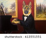 dogs waltz. the dog plays the... | Shutterstock . vector #613551551