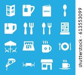 cafe icons set. set of 16 cafe... | Shutterstock .eps vector #613553099