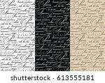 french script words seamless... | Shutterstock .eps vector #613555181
