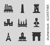 monument icons set. set of 9... | Shutterstock .eps vector #613557485