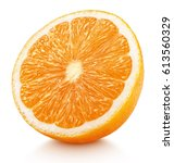 Small photo of Ripe half of orange citrus fruit isolated on white background with clipping path