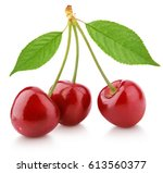 three sweet red cherry berry... | Shutterstock . vector #613560377