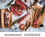 pork meat raw. assorted of pork ... | Shutterstock . vector #613561331