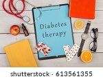 medecine concept   clipboard... | Shutterstock . vector #613561355