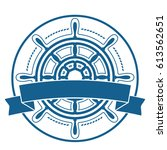 ship steering wheel emblem with ... | Shutterstock .eps vector #613562651