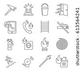 set of fire safety related... | Shutterstock .eps vector #613564241
