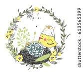 easter wreath | Shutterstock .eps vector #613565399