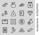 treasure icons set. set of 16... | Shutterstock .eps vector #613565924
