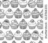 seamless muffin pattern | Shutterstock .eps vector #613566101